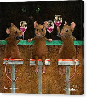 Red Cat Wine Canvas Print - Three Wined Mice... by Will Bullas