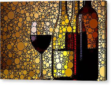 Wine Glasses Canvas Print - Three Wines by Cindy Edwards