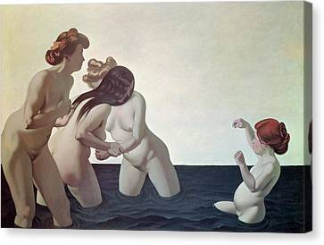 Three Women And A Young Girl Playing In The Water Canvas Print by Felix Edouard Vallotton