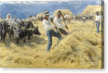 Italian Landscape Canvas Print - Threshing In The Abruzzi, 1890 by Peder Severin Kroyer