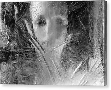 Through A Wintry Window Gaze... Thee Or Me? Canvas Print
