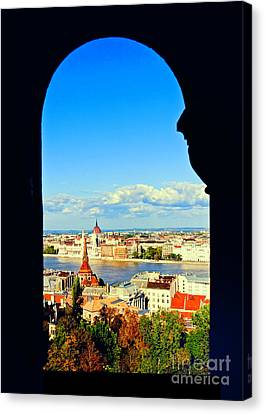 Through An Arch In Budapest Canvas Print by Madeline Ellis