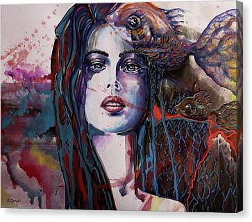 Canvas Print featuring the painting Through My Mind by Geni Gorani