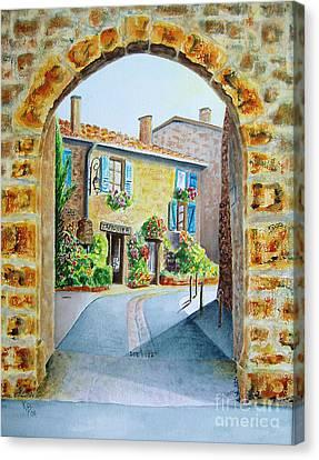 Through The Arch Canvas Print by Karen Fleschler