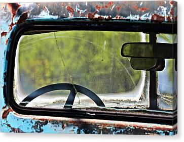 Through The Back Window- Antique Chevrolet Truck- Fine Art Canvas Print by KayeCee Spain