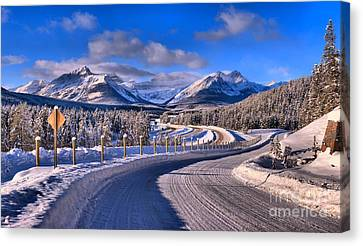 Through The Canadian Rocky Mountains Canvas Print by Adam Jewell