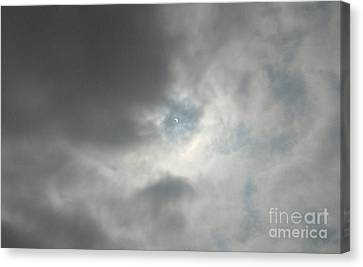 Solar Eclipse Canvas Print - Through The Clouds by Jamie Lajoie