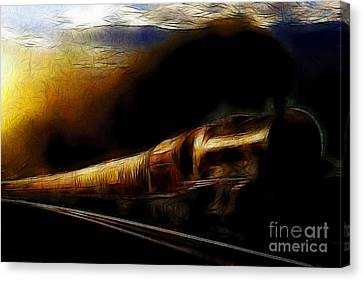 Through The Dark Of Night Rises The New Morning Glow . Such Is The Life Of The Old Engine Canvas Print by Wingsdomain Art and Photography