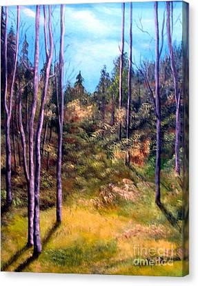 Through The Trees Canvas Print by Anna-maria Dickinson