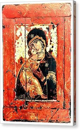 Ththe Virgin Eleusa Of Vladimir - 17 Century Canvas Print by Evgeni  Andreev