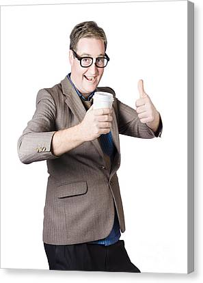 Thumbs Up Beverage Man. Good Coffee Canvas Print by Jorgo Photography - Wall Art Gallery