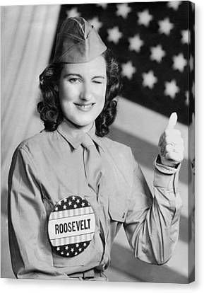 Thumbs Up For Roosevelt Canvas Print by Underwood Archives