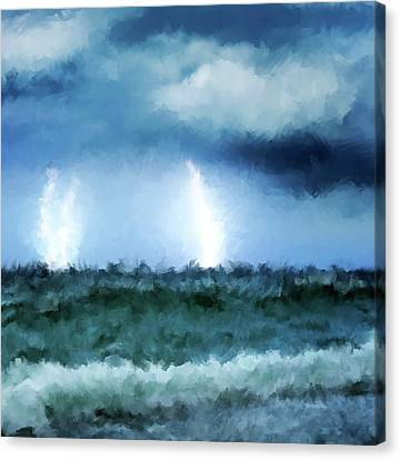 Thunder And Lightning At Sea Canvas Print by Michael Greenaway