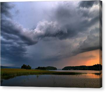 Canvas Print featuring the photograph Thunder At Siuro by Jouko Lehto