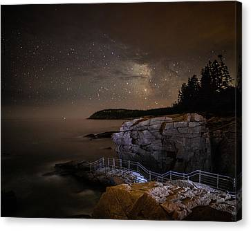 Thunder Hole Under The Stars Canvas Print by Brent L Ander