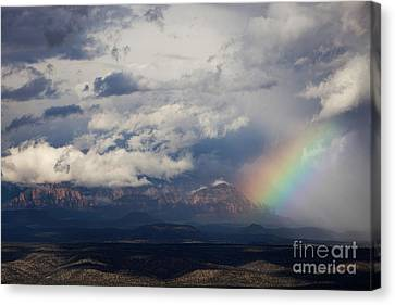 Canvas Print featuring the photograph Thunder Mountain Rainbow From Jerome by Ron Chilston