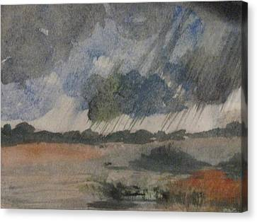 Canvas Print featuring the painting Thunder Showers by Trilby Cole