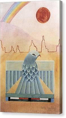 Thunderbird And Rainbow Canvas Print by Sally Appleby