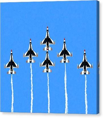 Canvas Print featuring the mixed media Thunderbirds Flying In Formation by Mark Tisdale