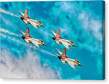 Thunderbirds In Formation II Canvas Print by Bill Gallagher