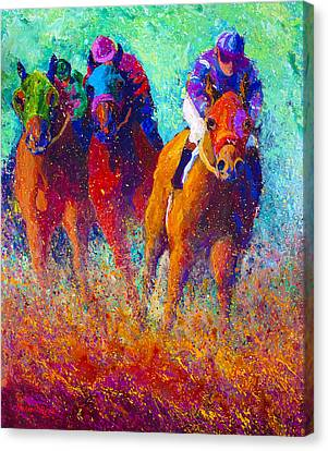 Jumping Horse Canvas Print - Thundering Hooves by Marion Rose