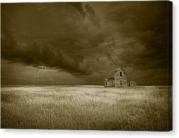 Thunderstorm On The Prairie In Sepia Canvas Print