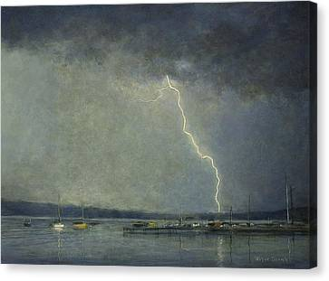Canvas Print featuring the painting Thunderstorm Over Cazenovia Lake by Wayne Daniels