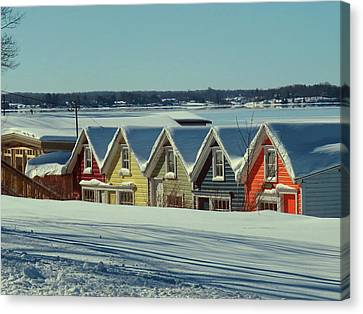Winter View Ti Park Boathouses Canvas Print