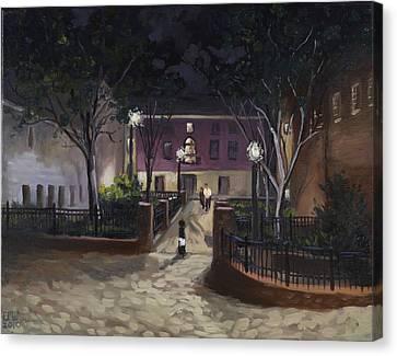 Tiber Park At Night Canvas Print by Edward Williams