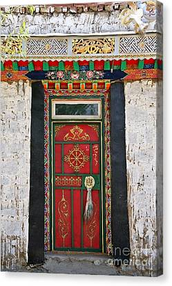 Tibet Red Door Canvas Print by Kate McKenna