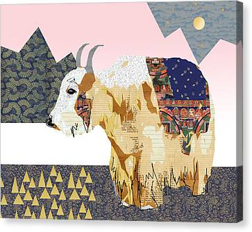 Tibet Yak Collage Canvas Print by Claudia Schoen