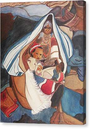 Tibetan Grandmother And Baby Canvas Print by Suzanne  Marie Leclair