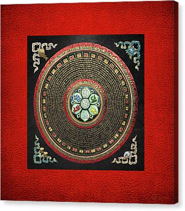 Tibetan Om Mantra Mandala In Gold On Black And Red Canvas Print by Serge Averbukh