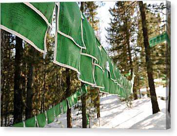 Tibetan Buddhism Canvas Print - Tibetan Prayer Flags by Jessica Rose