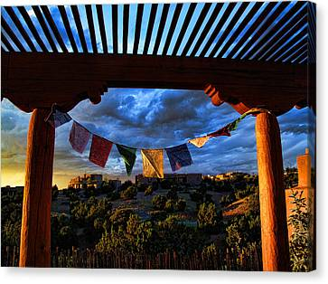 Canvas Print featuring the photograph Tibetan Prayer Flags Outside My Office At Sundown by Paul Cutright