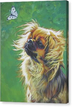 Tibetan Spaniel And Cabbage White Butterfly Canvas Print by Lee Ann Shepard