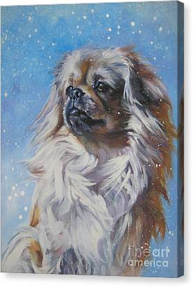 Tibetan Spaniel In Snow Canvas Print by Lee Ann Shepard