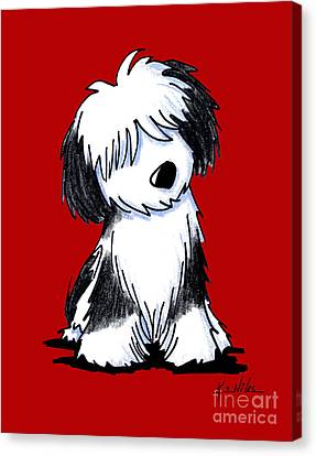Tibetan Terrier On Red Canvas Print by Kim Niles