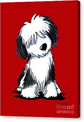 Tibetan Terrier On Red Canvas Print