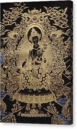 Tibetan Thangka  - Maitreya Buddha Canvas Print by Serge Averbukh