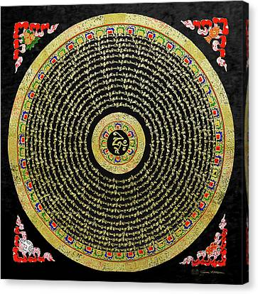 Tibetan Thangka - Om Mandala With Syllable Mantra Over Black Canvas Print