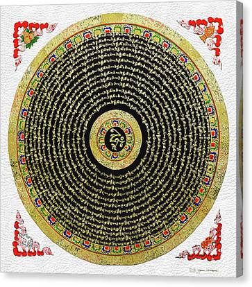 Tibetan Thangka - Om Mandala With Syllable Mantra Over White Leather Canvas Print