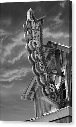 Canvas Print featuring the photograph Tickets Bw by Laura Fasulo