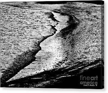 Tidal Wave Reaching For The Shoreline Canvas Print by Carol F Austin