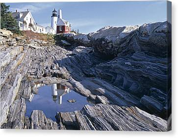 Tide Pool Reflection Pemaquid Point Lighthouse Maine Canvas Print by George Oze