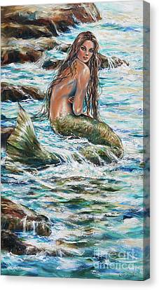 Canvas Print featuring the painting Tidepool by Linda Olsen
