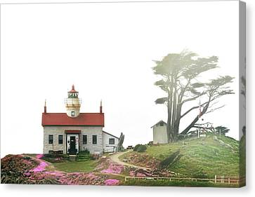 Tides Of Battery Point Lighthouse - Northern Ca Canvas Print by Christine Till