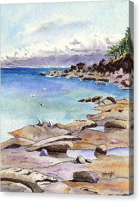 Hornby Island Canvas Print - Tides Out At Tribune Bay On Hornby Island by Wendy Mould