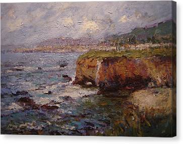 Tidewater On The Cliffs II Canvas Print by R W Goetting