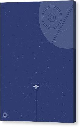 Tie Fighter Defends The Death Star Canvas Print by Samuel Whitton